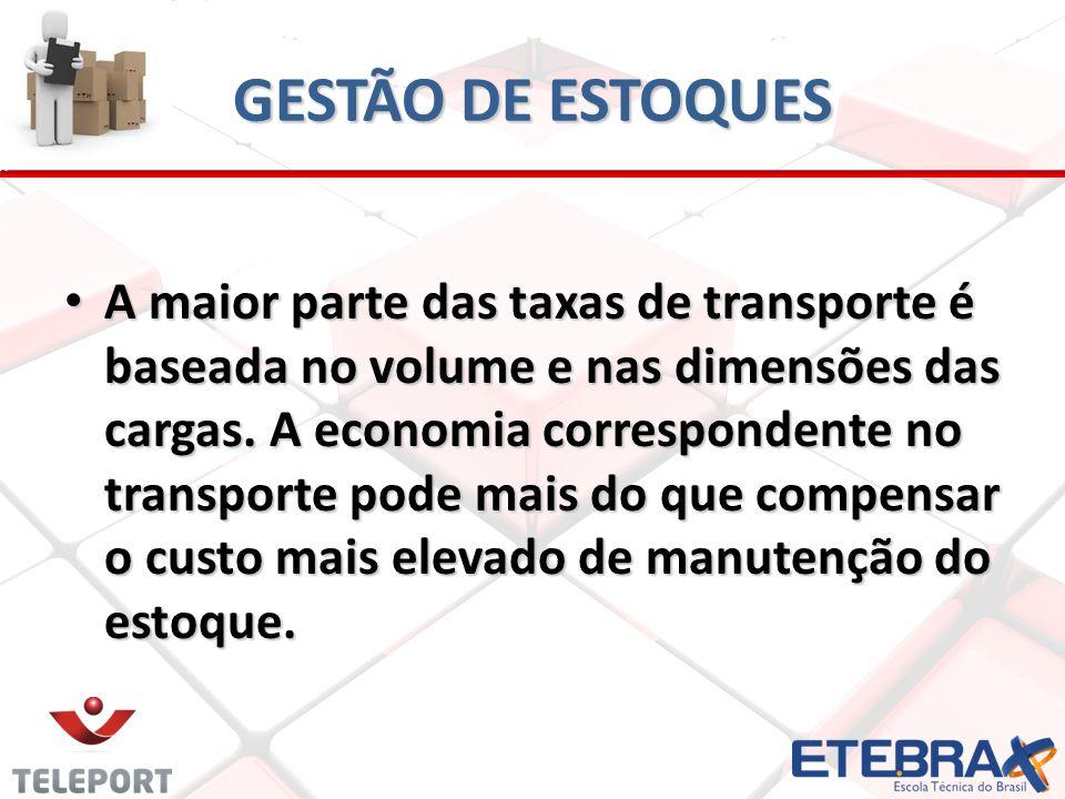 GESTÃO DE ESTOQUES A maior parte das taxas de transporte é baseada no volume e nas dimensões das cargas. A economia correspondente no transporte pode