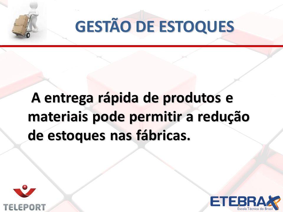 GESTÃO DE ESTOQUES A entrega rápida de produtos e materiais pode permitir a redução de estoques nas fábricas. A entrega rápida de produtos e materiais