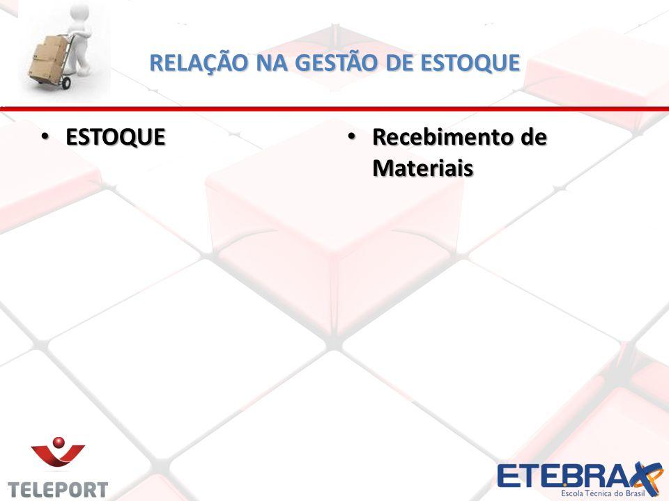 RELAÇÃO NA GESTÃO DE ESTOQUE ESTOQUE ESTOQUE Recebimento de Materiais