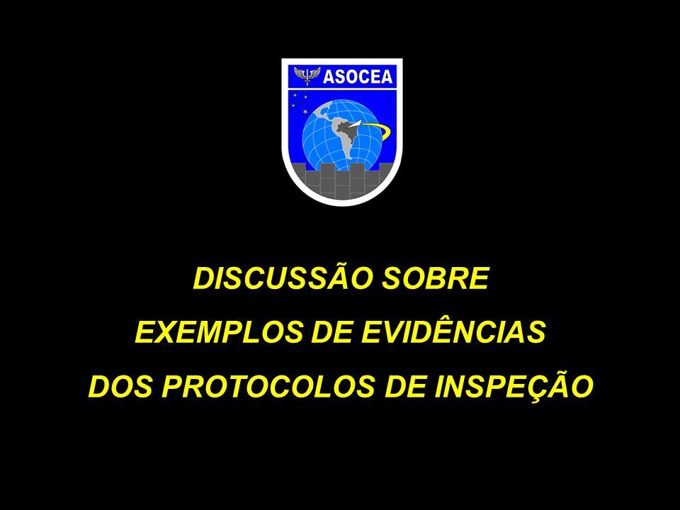 DISCUSSÃO SOBRE EXEMPLOS DE EVIDÊNCIAS DOS PROTOCOLOS DE INSPEÇÃO
