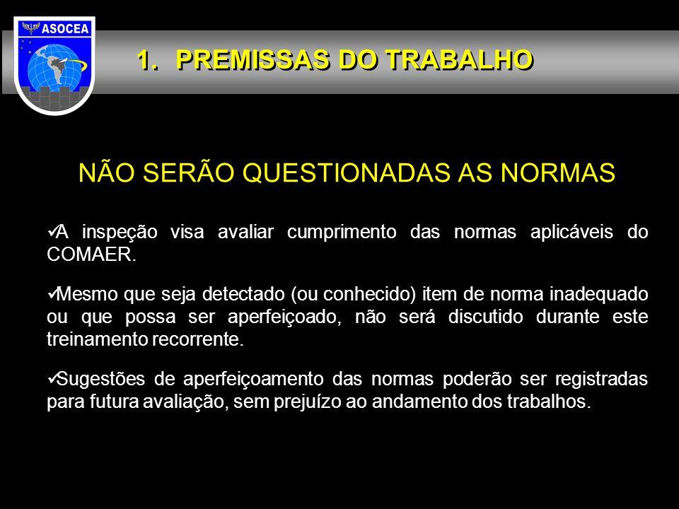 PREMISSAS DO TRABALHO NÃO SERÃO QUESTIONADAS AS NORMAS A inspeção visa avaliar cumprimento das normas aplicáveis do COMAER. Mesmo que seja detectado (