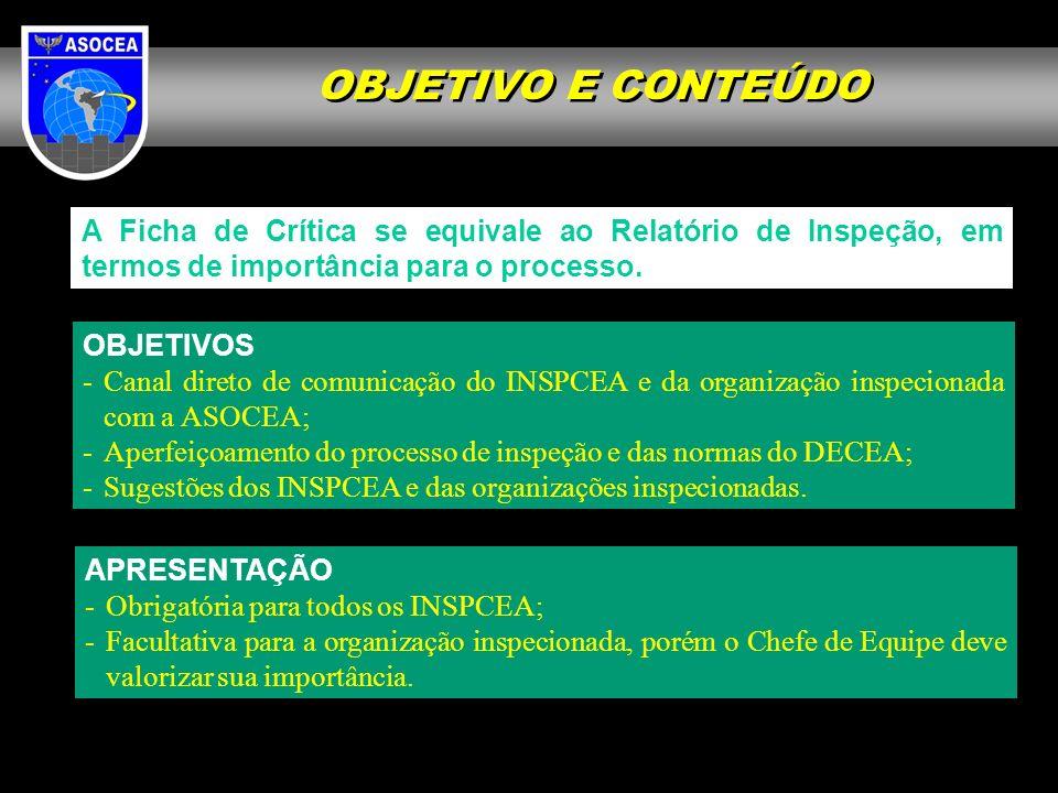 OBJETIVO E CONTEÚDO A Ficha de Crítica se equivale ao Relatório de Inspeção, em termos de importância para o processo.