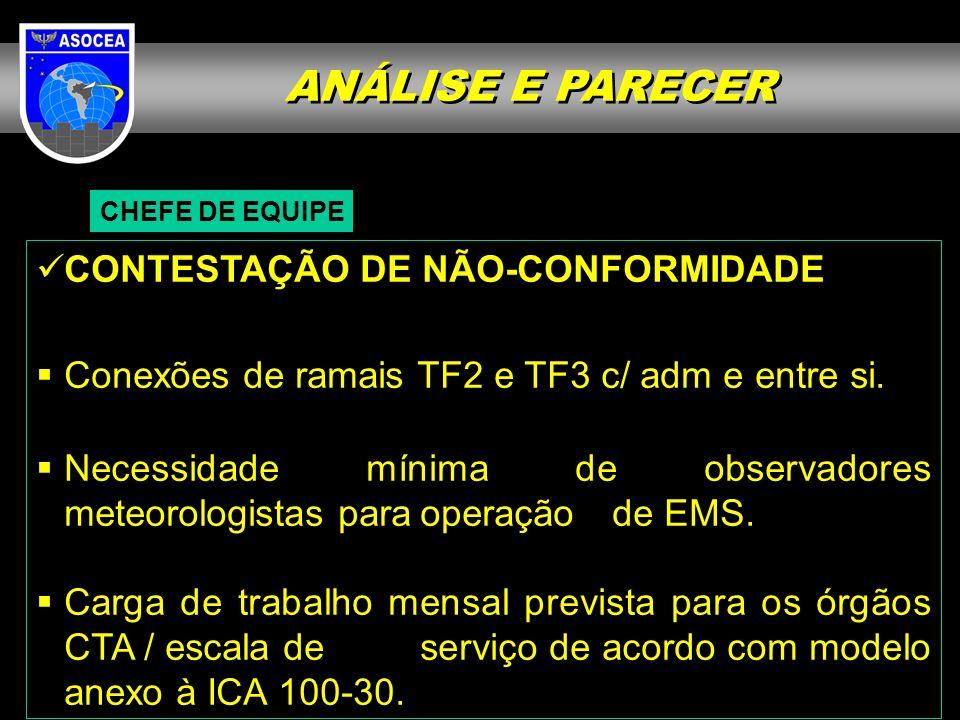 ANÁLISE E PARECER CHEFE DE EQUIPE CONTESTAÇÃO DE NÃO-CONFORMIDADE Conexões de ramais TF2 e TF3 c/ adm e entre si.
