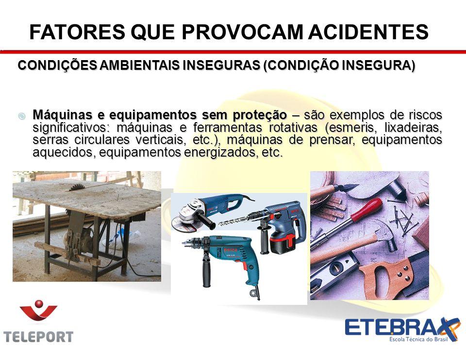 CONDIÇÕES AMBIENTAIS INSEGURAS (CONDIÇÃO INSEGURA) Máquinas e equipamentos sem proteção – são exemplos de riscos significativos: máquinas e ferramenta