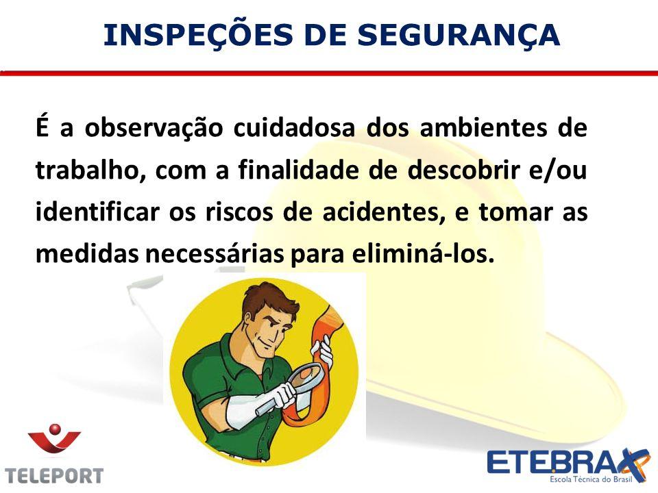 INSPEÇÕES DE SEGURANÇA É a observação cuidadosa dos ambientes de trabalho, com a finalidade de descobrir e/ou identificar os riscos de acidentes, e to