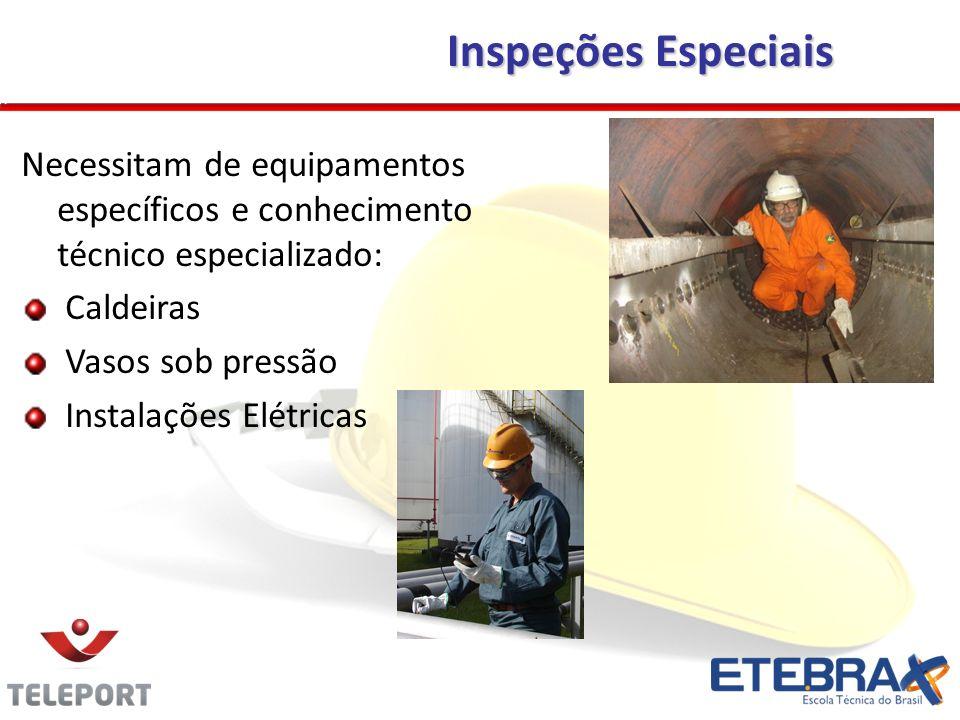 Necessitam de equipamentos específicos e conhecimento técnico especializado: Caldeiras Vasos sob pressão Instalações Elétricas Inspeções Especiais