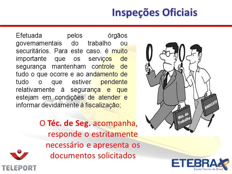 O Téc. de Seg. acompanha, responde o estritamente necessário e apresenta os documentos solicitados Efetuada pelos órgãos governamentais do trabalho ou