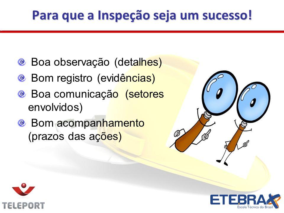 Para que a Inspeção seja um sucesso! Boa observação (detalhes) Bom registro (evidências) Boa comunicação (setores envolvidos) Bom acompanhamento (praz