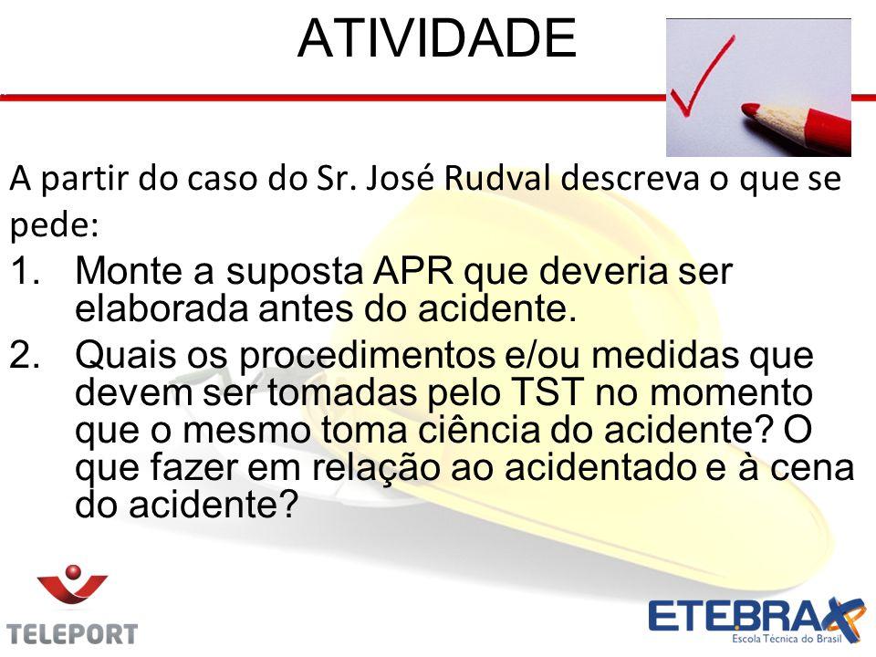 ATIVIDADE A partir do caso do Sr. José Rudval descreva o que se pede: 1.Monte a suposta APR que deveria ser elaborada antes do acidente. 2.Quais os pr