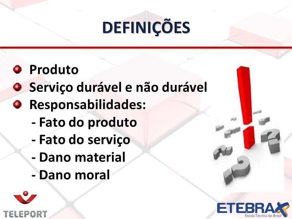 DEFINIÇÕES Produto Serviço durável e não durável Responsabilidades: - Fato do produto - Fato do serviço - Dano material - Dano moral