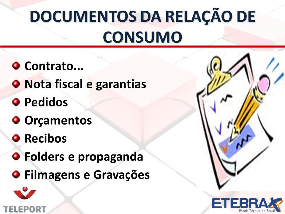 DOCUMENTOS DA RELAÇÃO DE CONSUMO Contrato... Nota fiscal e garantias Pedidos Orçamentos Recibos Folders e propaganda Filmagens e Gravações