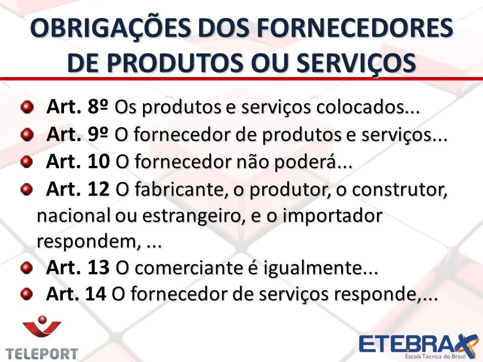OBRIGAÇÕES DOS FORNECEDORES DE PRODUTOS OU SERVIÇOS Os produtos e serviços colocados...
