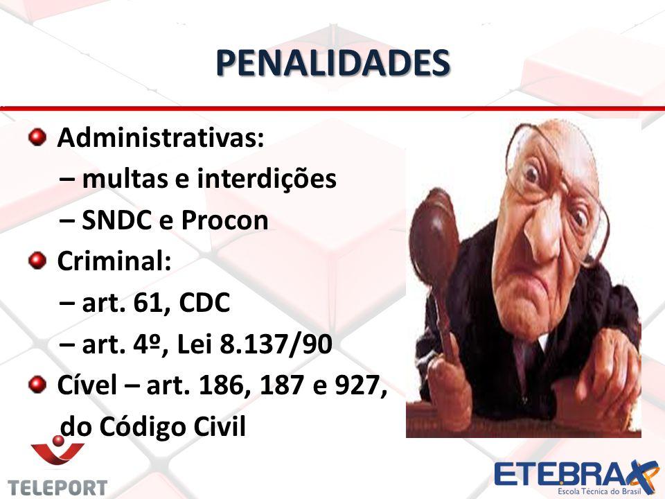 PENALIDADES Administrativas: – multas e interdições – SNDC e Procon Criminal: – art. 61, CDC – art. 4º, Lei 8.137/90 Cível – art. 186, 187 e 927, do C