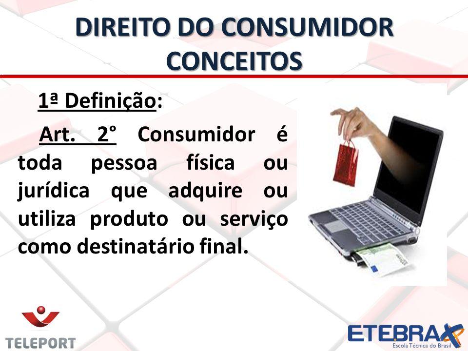 DIREITO DO CONSUMIDOR CONCEITOS 1ª Definição: Art. 2° Consumidor é toda pessoa física ou jurídica que adquire ou utiliza produto ou serviço como desti