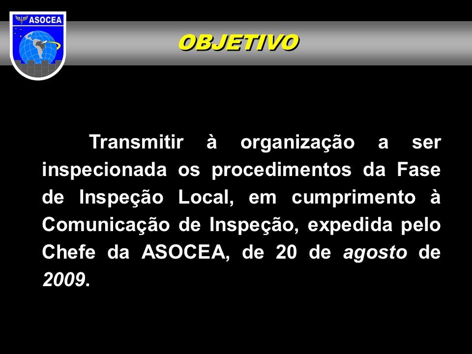 OBJETIVO Transmitir à organização a ser inspecionada os procedimentos da Fase de Inspeção Local, em cumprimento à Comunicação de Inspeção, expedida pe