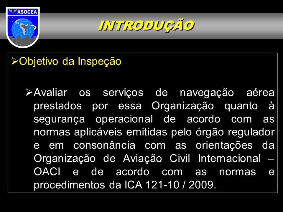 INTRODUÇÃO Objetivo da Inspeção Avaliar os serviços de navegação aérea prestados por essa Organização quanto à segurança operacional de acordo com as