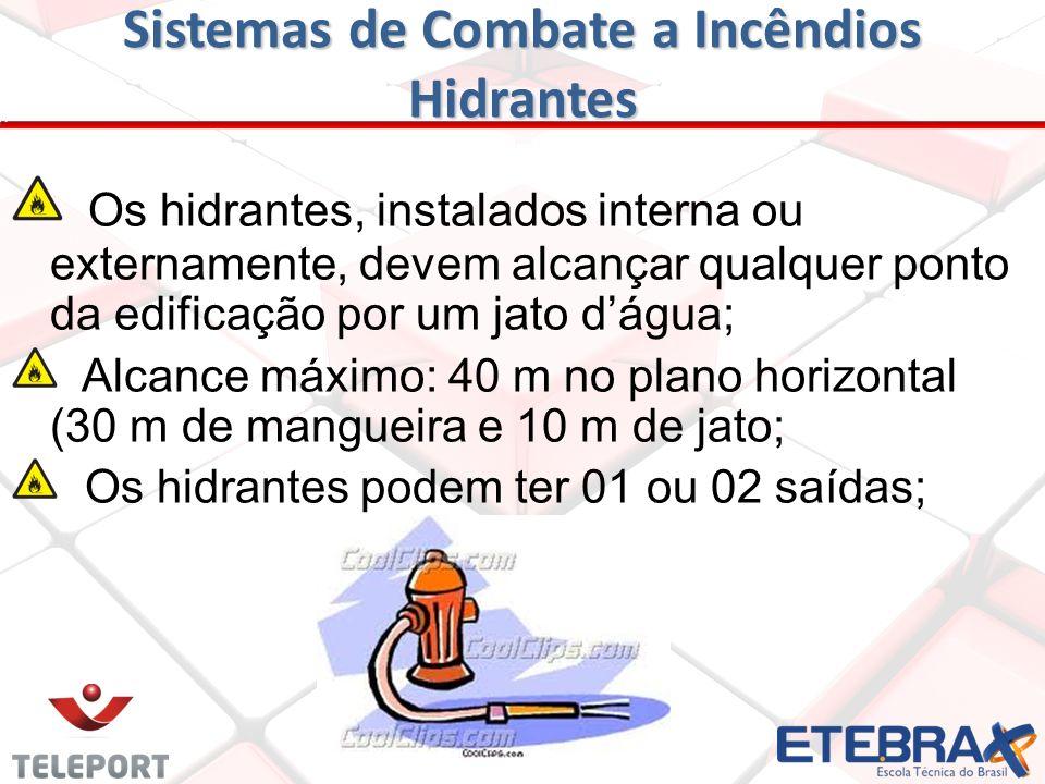 Sistemas de Combate a Incêndios Hidrantes A alimentação é através de uma rede de tubulação; Abastecida por reservatório ou manancial de água; Impulsio