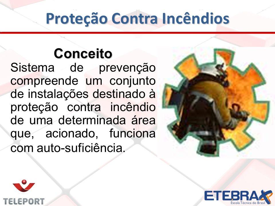 Proteção Contra Incêndios Conceito Sistema de prevenção compreende um conjunto de instalações destinado à proteção contra incêndio de uma determinada área que, acionado, funciona com auto-suficiência.