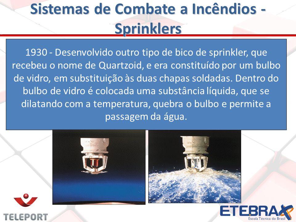 Sprinkler = borrifar, espargir Frederick Grinnell(1883) que inventou um bico, que levou o seu nome, isto é tipo Grinnell, funciona por meio de um elem