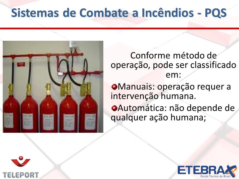 Sistemas de Combate a Incêndios - PQS Descarregar o pó extintor através de esguichos fixos, alimentados por canalização ou através de linha do mangoti