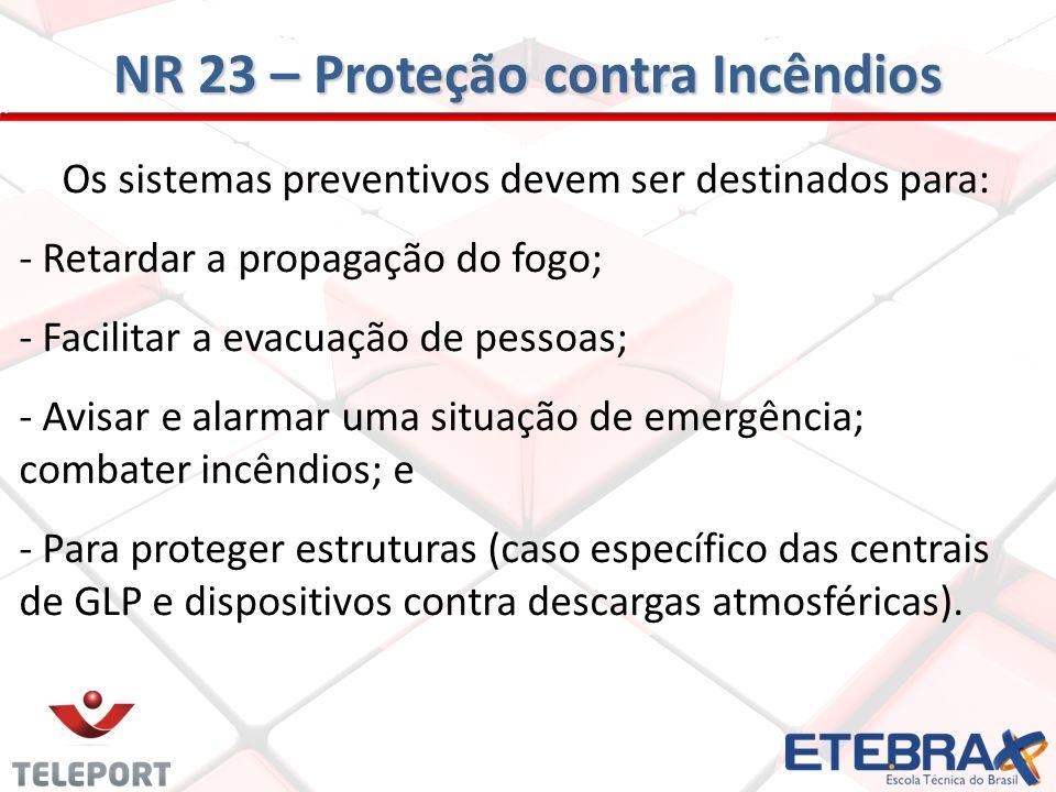 NR 23 – Proteção contra Incêndios Os sistemas preventivos devem ser destinados para: - Retardar a propagação do fogo; - Facilitar a evacuação de pesso