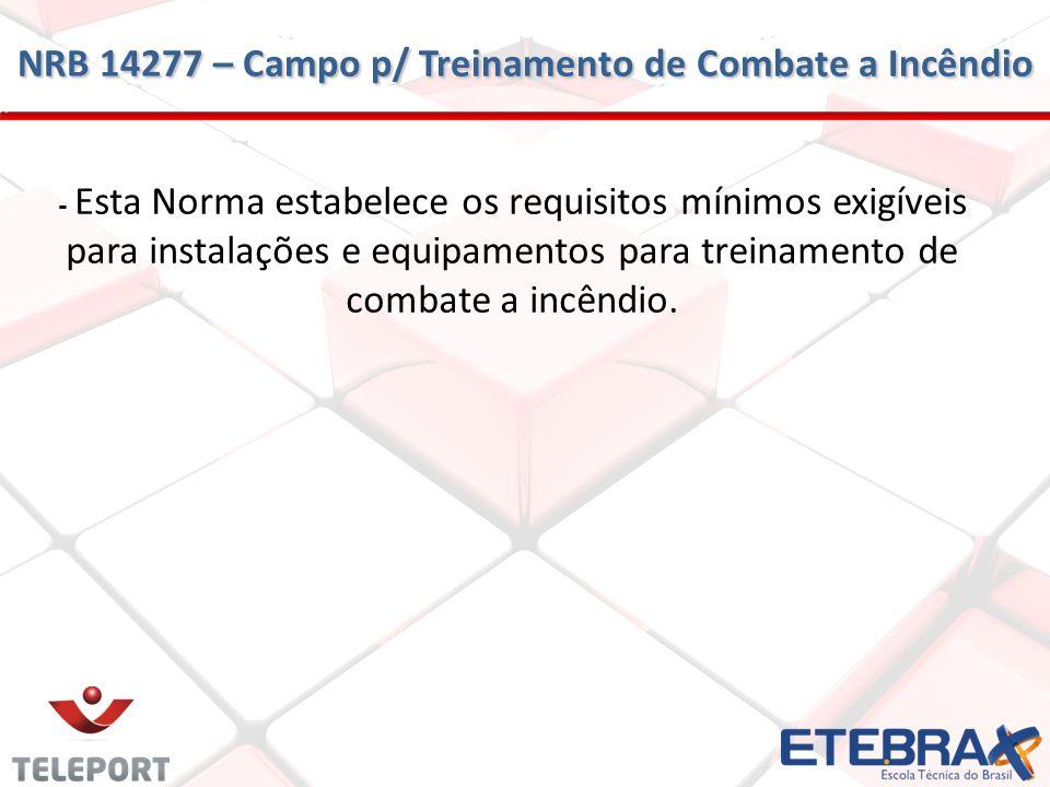 - Esta Norma estabelece os requisitos mínimos exigíveis para instalações e equipamentos para treinamento de combate a incêndio. NRB 14277 – Campo p/ T