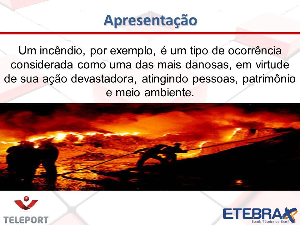 Apresentação Um incêndio, por exemplo, é um tipo de ocorrência considerada como uma das mais danosas, em virtude de sua ação devastadora, atingindo pe