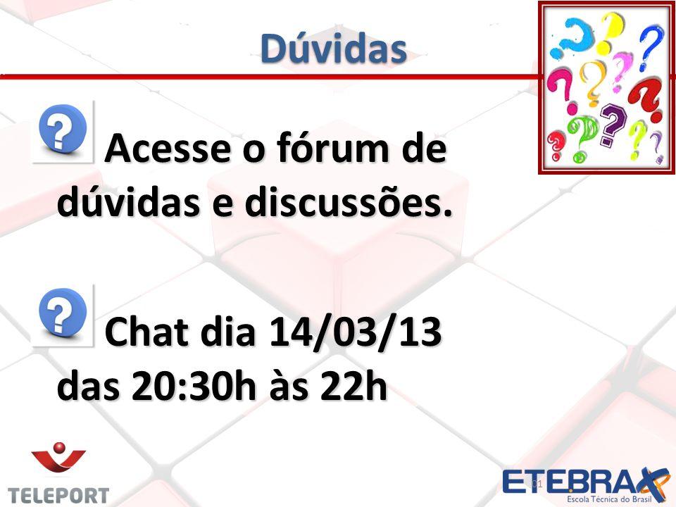Dúvidas Acesse o fórum de dúvidas e discussões. Acesse o fórum de dúvidas e discussões. Chat dia 14/03/13 das 20:30h às 22h Chat dia 14/03/13 das 20:3