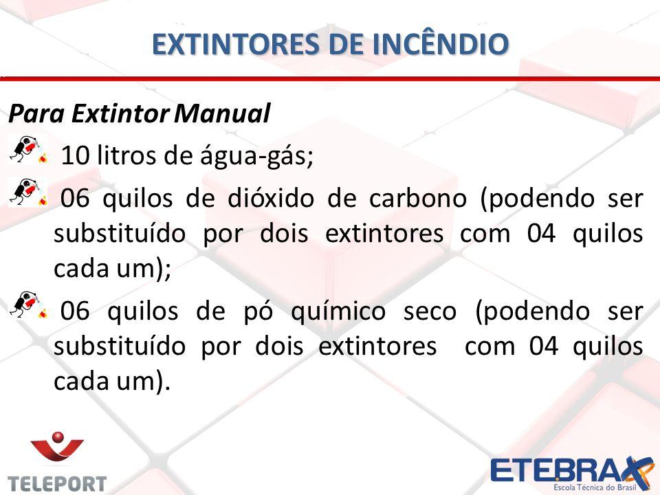 EXTINTORES DE INCÊNDIO Para Extintor Manual 10 litros de água-gás; 06 quilos de dióxido de carbono (podendo ser substituído por dois extintores com 04