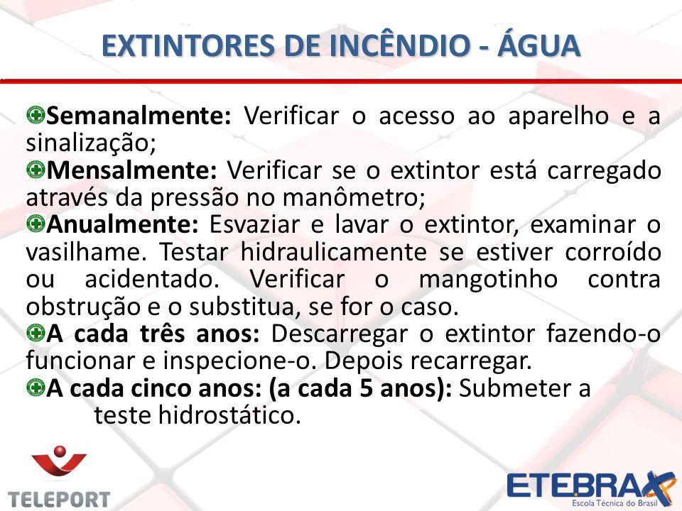 EXTINTORES DE INCÊNDIO - ÁGUA Semanalmente: Verificar o acesso ao aparelho e a sinalização; Mensalmente: Verificar se o extintor está carregado atravé