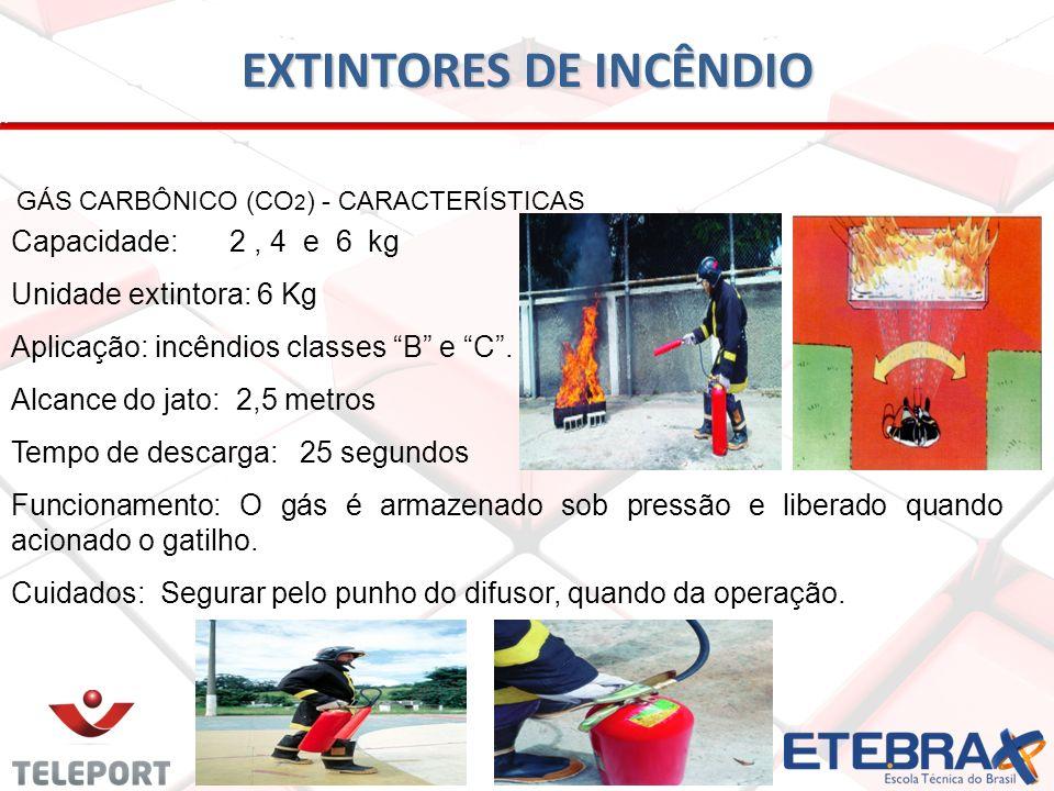 EXTINTORES DE INCÊNDIO GÁS CARBÔNICO (CO 2 ) - CARACTERÍSTICAS Capacidade: 2, 4 e 6 kg Unidade extintora: 6 Kg Aplicação: incêndios classes B e C. Alc