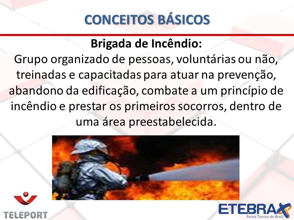 CONCEITOS BÁSICOS Brigada de Incêndio: Grupo organizado de pessoas, voluntárias ou não, treinadas e capacitadas para atuar na prevenção, abandono da e