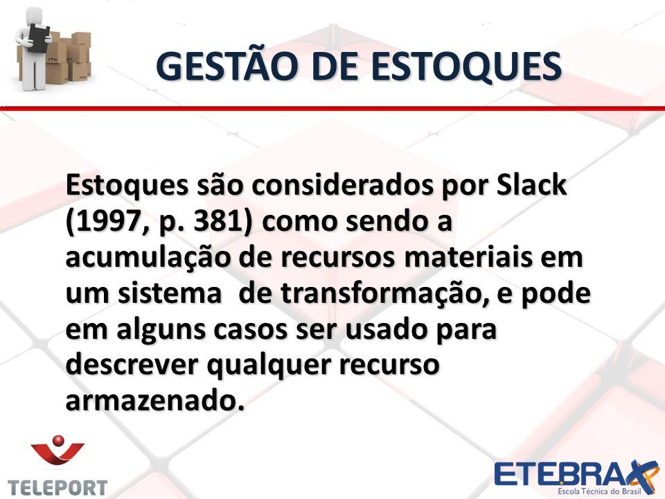 GESTÃO DE ESTOQUES Estoques são considerados por Slack (1997, p. 381) como sendo a acumulação de recursos materiais em um sistema de transformação, e