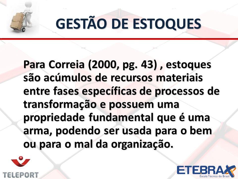 GESTÃO DE ESTOQUES Para Correia (2000, pg. 43), estoques são acúmulos de recursos materiais entre fases específicas de processos de transformação e po
