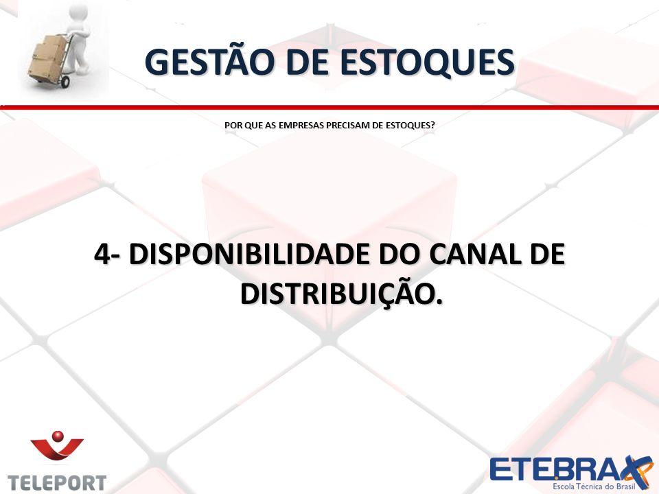 GESTÃO DE ESTOQUES POR QUE AS EMPRESAS PRECISAM DE ESTOQUES? 4- DISPONIBILIDADE DO CANAL DE DISTRIBUIÇÃO.