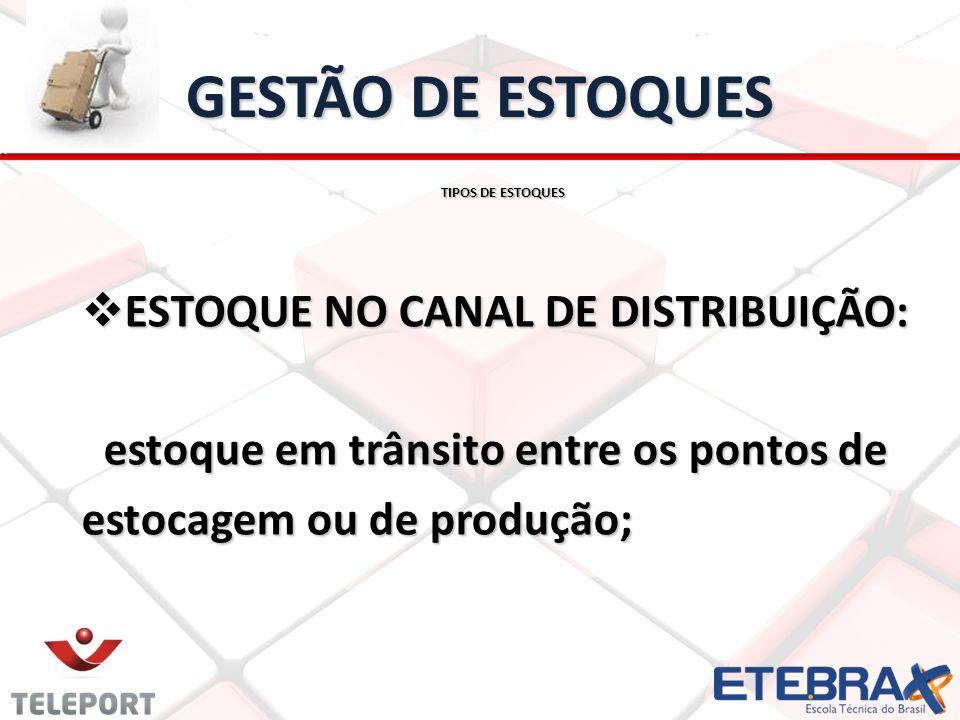 GESTÃO DE ESTOQUES TIPOS DE ESTOQUES ESTOQUE NO CANAL DE DISTRIBUIÇÃO: ESTOQUE NO CANAL DE DISTRIBUIÇÃO: estoque em trânsito entre os pontos de estoqu