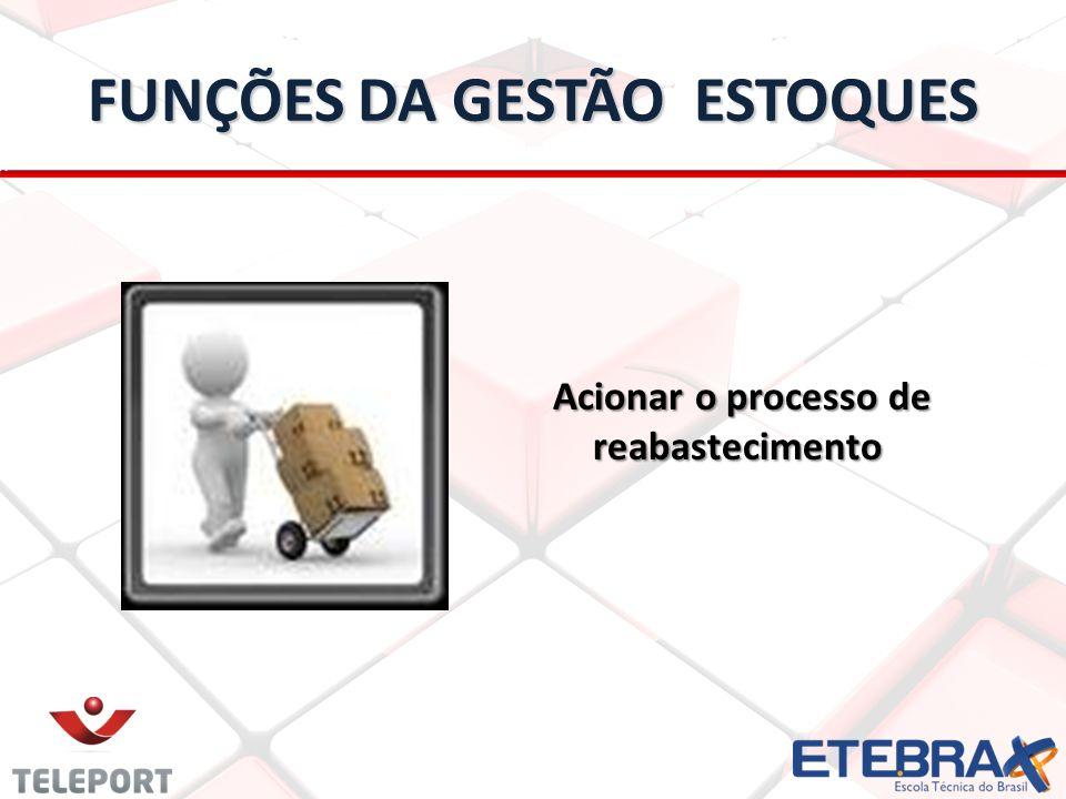 FUNÇÕES DA GESTÃO ESTOQUES Acionar o processo de reabastecimento