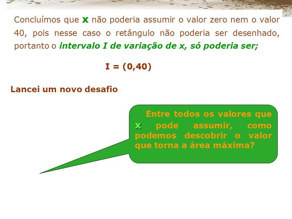 Entre todos os valores que x pode assumir, como podemos descobrir o valor que torna a área máxima? Analisando a relação entre os lados do retângulo pe