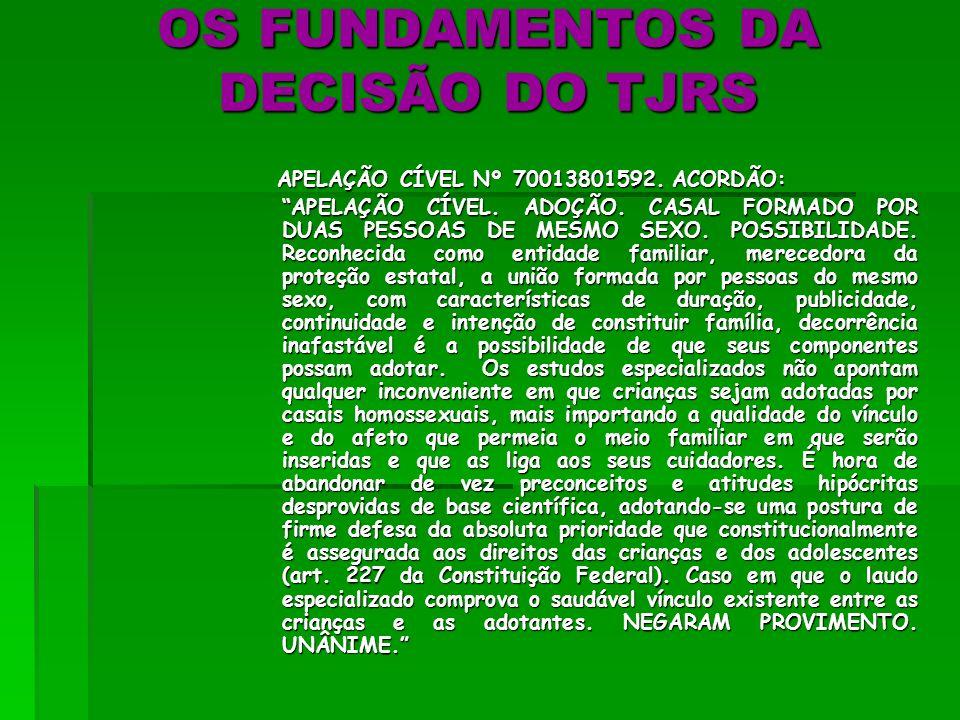O RECURSO DO MP À DECISÃO DE BAGÉ (RS) E A DECISÃO UNÂNIME DA 7ª C.C. DO TJ/RS: Apelação Cível nº 70013801592 (Relator: Des. Luiz Felipe Brasil Santos