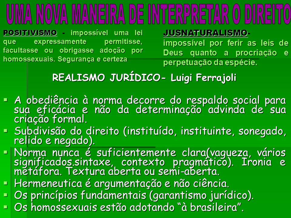 REALISMO JURÍDICO- Luigi Ferrajoli A obediência à norma decorre do respaldo social para sua eficácia e não da determinação advinda de sua criação formal.