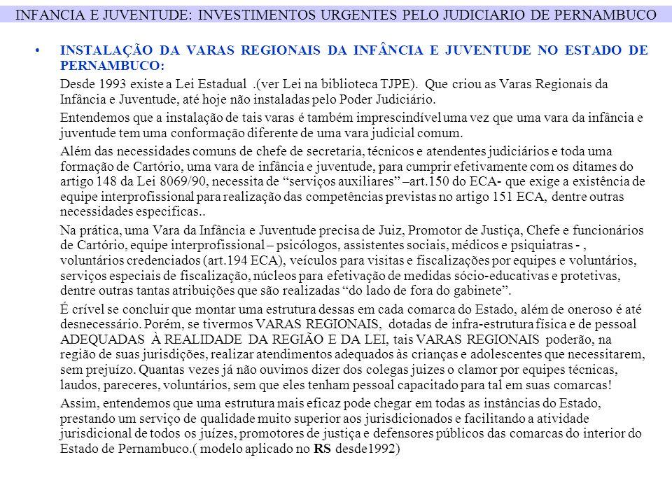 INFANCIA E JUVENTUDE: INVESTIMENTOS URGENTES PELO JUDICIARIO DE PERNAMBUCO INSTALAÇÃO DA VARAS REGIONAIS DA INFÂNCIA E JUVENTUDE NO ESTADO DE PERNAMBU