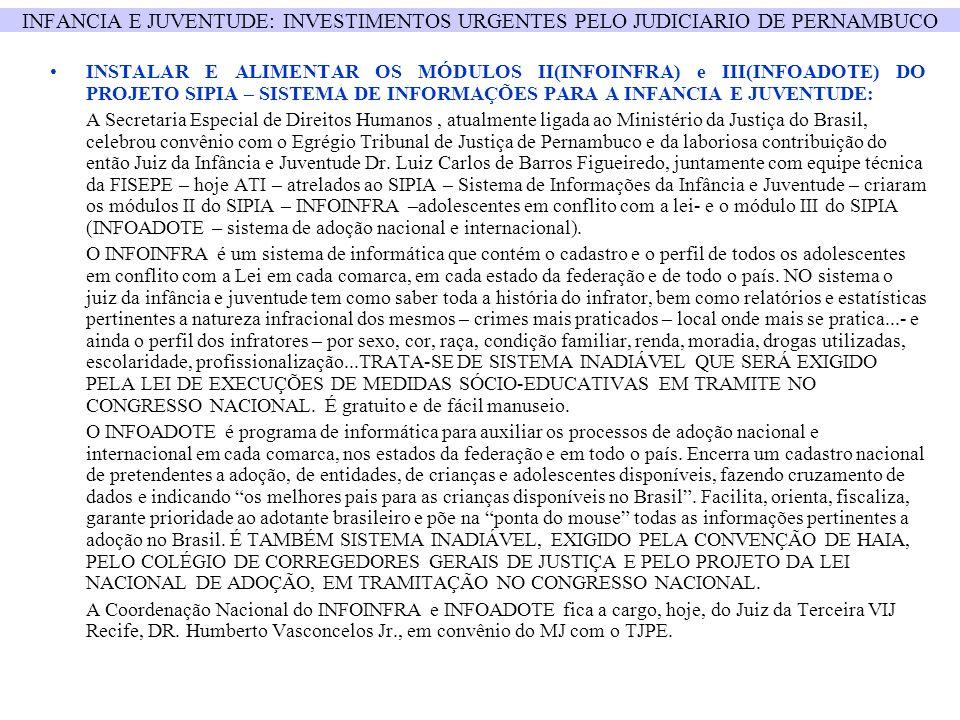 INFANCIA E JUVENTUDE: INVESTIMENTOS URGENTES PELO JUDICIARIO DE PERNAMBUCO INSTALAR E ALIMENTAR OS MÓDULOS II(INFOINFRA) e III(INFOADOTE) DO PROJETO S