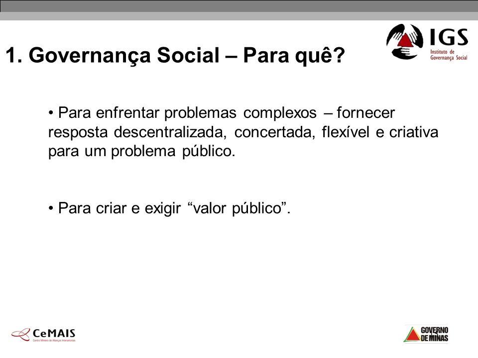 15 1. Governança Social – Para quê? Para enfrentar problemas complexos – fornecer resposta descentralizada, concertada, flexível e criativa para um pr