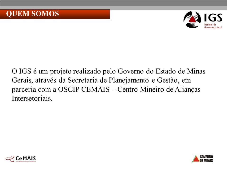 QUEM SOMOS O IGS é um projeto realizado pelo Governo do Estado de Minas Gerais, através da Secretaria de Planejamento e Gestão, em parceria com a OSCI