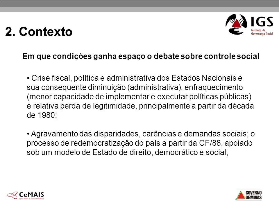 21 2. Contexto Em que condições ganha espaço o debate sobre controle social Crise fiscal, política e administrativa dos Estados Nacionais e sua conseq
