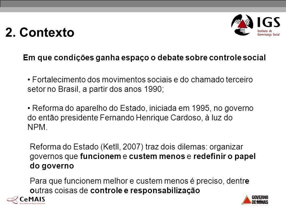 22 2. Contexto Em que condições ganha espaço o debate sobre controle social Fortalecimento dos movimentos sociais e do chamado terceiro setor no Brasi