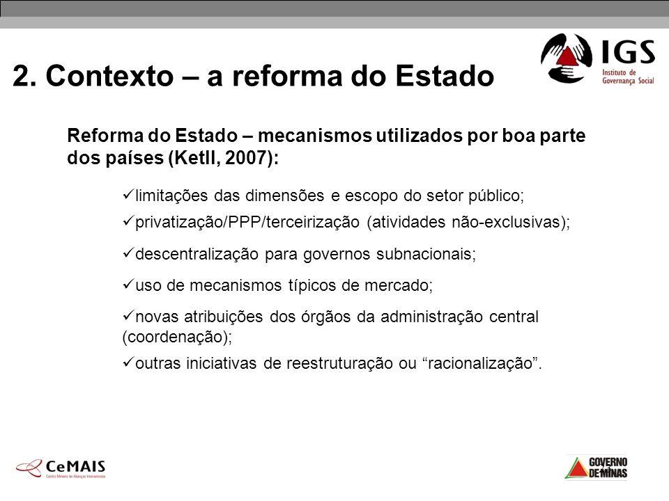 23 2. Contexto – a reforma do Estado Reforma do Estado – mecanismos utilizados por boa parte dos países (Ketll, 2007): limitações das dimensões e esco