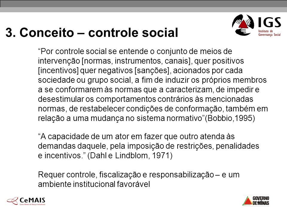 24 3. Conceito – controle social Por controle social se entende o conjunto de meios de intervenção [normas, instrumentos, canais], quer positivos [inc