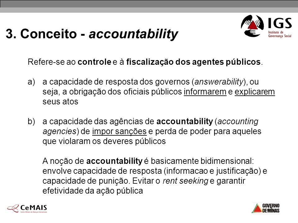 25 3. Conceito - accountability Refere-se ao controle e à fiscalização dos agentes públicos. a)a capacidade de resposta dos governos (answerability),