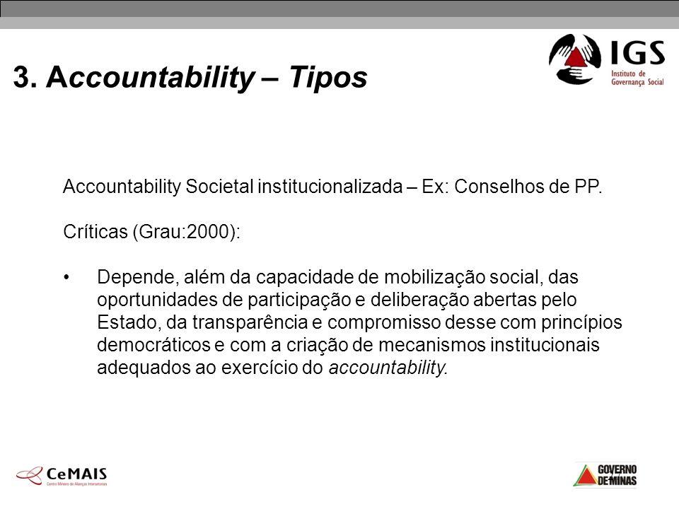 27 3. Accountability – Tipos Accountability Societal institucionalizada – Ex: Conselhos de PP. Críticas (Grau:2000): Depende, além da capacidade de mo